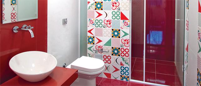 Decoração de Banheiro com Mosaico de Azulejo  BH Mulher -> Decoracao De Banheiro Com Cimento Queimado
