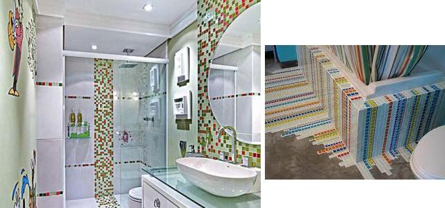 Decoração de Banheiro com Mosaico de Azulejo  BH Mulher -> Decoracao De Banheiro Com Azulejos Antigos