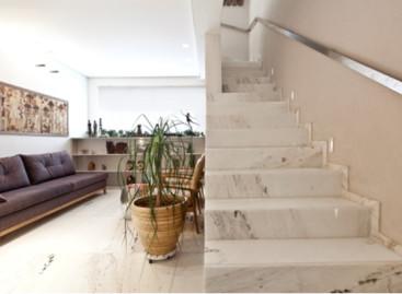 Pedras fazem das escadas um elemento estético