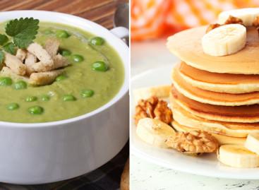 Receita de sopa de ervilha e panqueca de banana com aveia