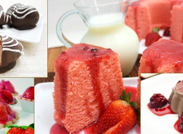 Sobremesas com morango e chocolate zero açúcar