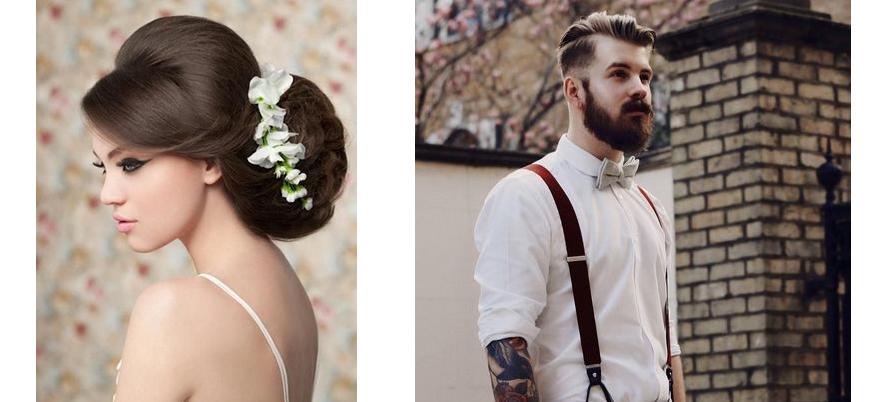 retrô penteados para noivas e cabelo e barba para noivo BH Mulher