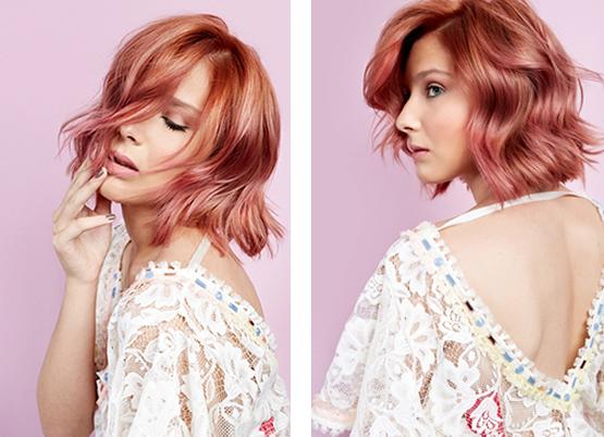 cabelo rosa com mistura de laranja bh mulher