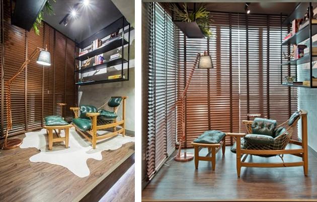 madeira mobiliario decoração varanda leitura